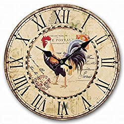 NUTK Wall Clock, 14-Inch Chicken Decorative Round Retro Vintage Silent Wooden Wall Clocks Non-Ticking for Kitchen Living Room Bathroom Bedroom Wall Decor