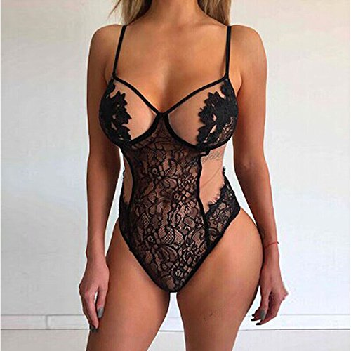 Women's Sexy Shiner Paillette Hollowed Perspective Lace Bandage Corset Push Up Alluring Bra Briefs Underwear Set[2019 (Black, L) by Aurorax Dress (Image #1)