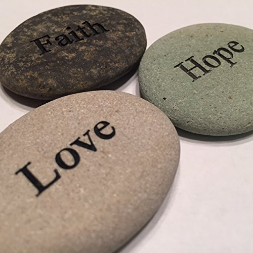 Faith Hope Love Engraved Stones - 3 Stone Set by Stone Cheer