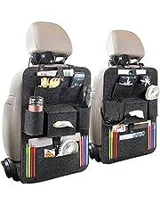 Luchild Rugleuningbescherming voor de auto, 2 stuks, vilt, autostoelbeschermer achterbanktas met iPad/tablettas, kick-mat-bescherming voor autostoel opbergtas