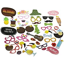 E-muse Aloha Tropical Luau Hawaiian Party Photo Booth Props 41 Count with Stick