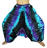 Design By Jingle Women's Tie Dye Pants Baggy Aladdin Hippy Harem Yoga Bohemian Gypsy with Elastic Waist Adjustable waist from 30-40 Inches(AA blue)