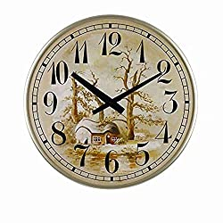 SMC 18-inch Modern Living Room European Art Idyllic Mute Round Ultra Thin Wall Clock,Plastic Frame