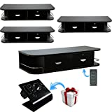 4x LCL Beauty Locking Wall Mount Styling Station with Black Metal Tabletop Appliance Holder & 4 Port Power Strip