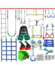Ninja Warrior Obstacle Course for Kids - 2X50FT Ninja Slackline with Most Complete Accessories for Kids, Swing, Trapeze Swing, Rope Ladder, Obstacle Net Plus 1.2M Arm Trainer