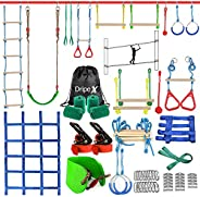Ninja Warrior Obstacle Course for Kids - Dripex Double Ninja Slackline with Most Complete Accessories for Kids