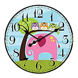 SkyNature Kids Wall Clock, Indoor Silent Non-Ticking Battery Operated Clocks, MDF Wooden Home Clock for Girls, Boys, Children Bedroom, Living Room & Kitchen - 14 Inch, Elephant