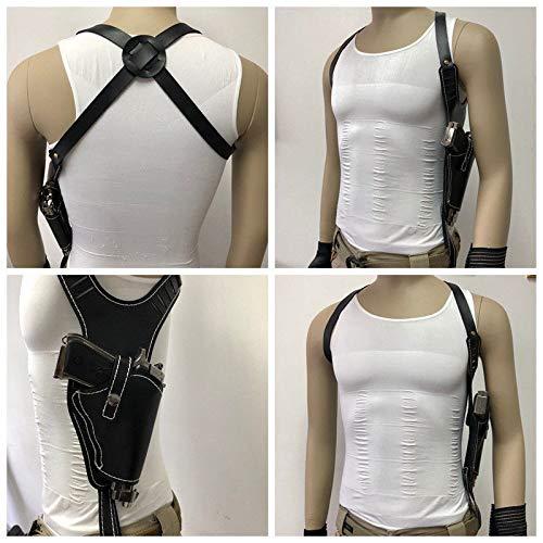 (zzuus Leather Tactical Hidden Underarm Shoulder Bag Black Vertical Holster Pouch Pistol Armpit Holster Pouch)