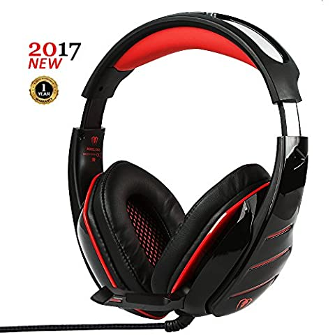 PC Gaming Headset with LED light Over-ear Professinal Gaming Headphones with Mic 3.5mm Noise Reduction Bass Headsets for PlayStation 4, Xbox One, PC, Laptops, Tablets and (Ps Four Headset)