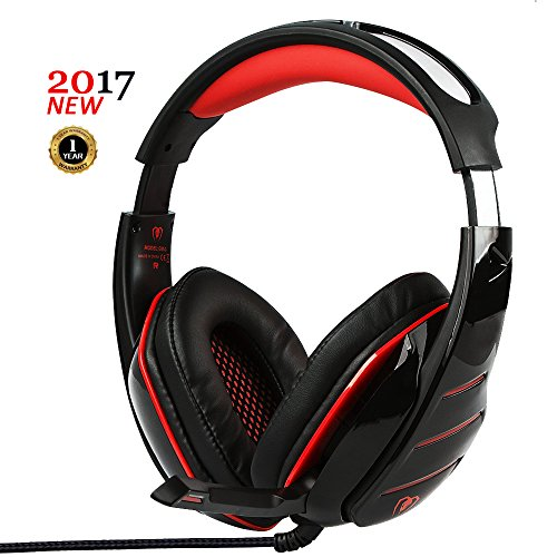 PC Gaming Headset with LED light Over-ear Professinal Gaming Headphones with Mic 3.5mm Noise Reduction Bass Headsets for PlayStation 4, Xbox One, PC, Laptops, Tablets and Smartphones