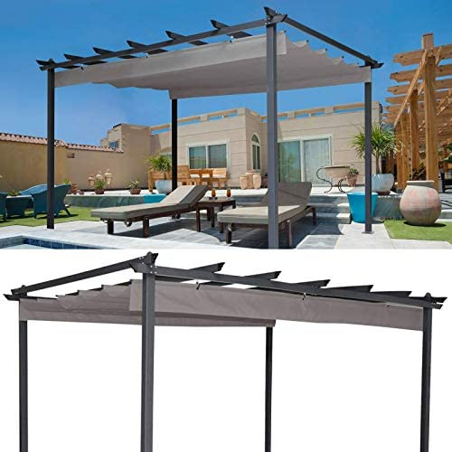 idmarket – Pergola tejado retráctil Topo 3 X 4 M cenador 4 patas: Amazon.es: Jardín
