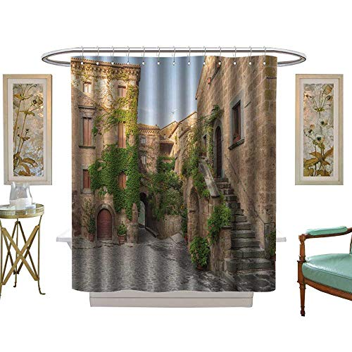 luvoluxhome Shower Curtains Fabric Small Alley in The Tuscan Village W72 x L84 Fabric Bathroom Set with Hooks