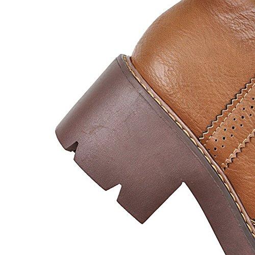 AllhqFashion Damen Rein Weiches Material Mittler Absatz Reißverschluss Rund Zehe Stiefel Braun