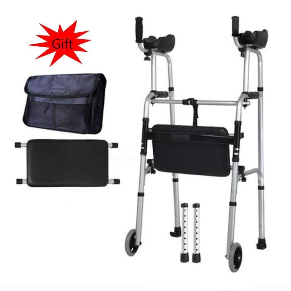 Folding Lightweight Aluminium Walking Frame with Wheels, Ergonomic Handle and Handbag Walking Mobility Aid Auxiliary Walking Safety Walker (Color : with Waterproof pad)