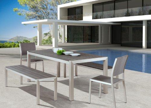 Amazon.com : Zuo Outdoor Metropolitan Brushed Aluminum Bench Chair : Outdoor  Metal Tables : Garden U0026 Outdoor