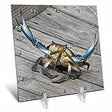 3dRose dc_63150_1 Blue Crab-Marine, Creature, Animal, Animals, Wildlife, Ocean, Invertebrate, Crab, Seafood-Desk Clock, 6 by 6-Inch
