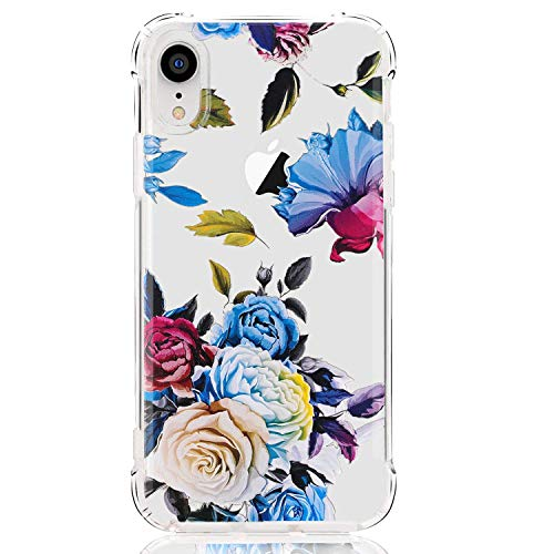 luolnh Compatible with iPhone XR Case,iPhone XR Case with Flowers, Slim Shockproof Clear Floral Pattern Soft Flexible TPU Back Cover case for iPhone XR 6.1 inch (2018) -Blue Rose