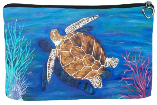 Cosmetic Bag, Zipper Pouch - Zip-top Closer - Taken From My Original Paintings - Animals (Loggerhead Sea Turtle - The Pilgrim)