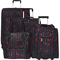 "Kenneth Cole Reaction The Real Collection 4-Piece Luggage Set: 28"" + 20"" Spinners, Shopper's Tote, and Under Seat Bag (Warm Red)"