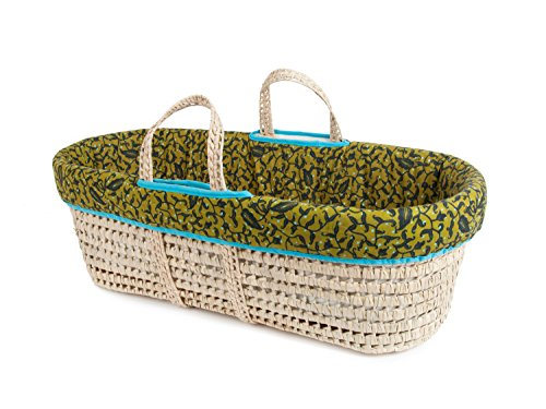 Tadpoles Moses Basket and Bedding Set, Green Leaves