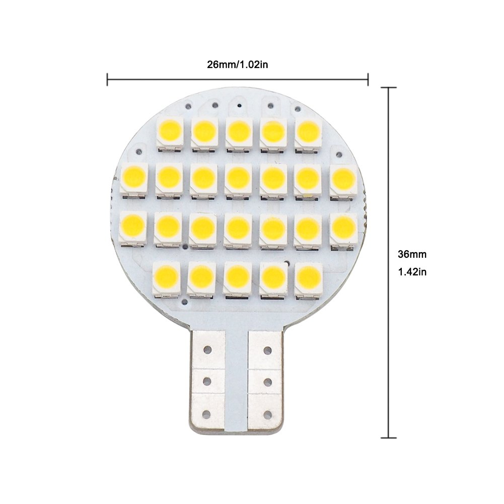 20x Grv T10 LED Light Bulb 921 194 192 C921 24-3528 SMD Super Bright Lamp DC 12V 2 Watt for Car RV Boat Ceiling Dome Interior Lights Warm White (2nd Generation) by GRV (Image #4)