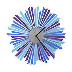 The Moon - 16 / 23½ Handmade Blue/Purple / Silver Wooden Wall Clock, a Piece of Wall Art by ardeola