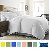 Bed Alter 3 Piece Duvet Cover Set Zipper Closure 100% Egyptian Cotton 600 Thread Count Hypoallergenic (1 Duvet Cover 2 Pillow Shams) (Twin/TwinXL, White)