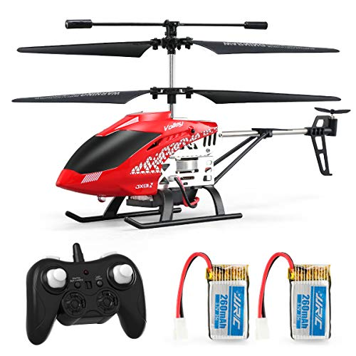 Helicopter with Remote Control, JJRC JX01 Helicopter 3.5CH Altitude Hold Helicopter with 2Batteries for Kids, Gyro 2.4GHz and LED Light for RTF Crash Resistance Helicopter RC Drone Toy Gift (Red) (R/c Mini Electric Helicopter)