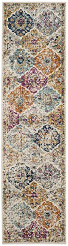 "Safavieh Madison Collection MAD611B Cream and Multicolored Bohemian Chic Distressed Runner (2'3"" x 8')"