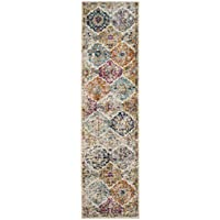 Safavieh Madison Collection MAD611B Cream and Multi Distressed Vintage Bohemian Runner (23 x 14)