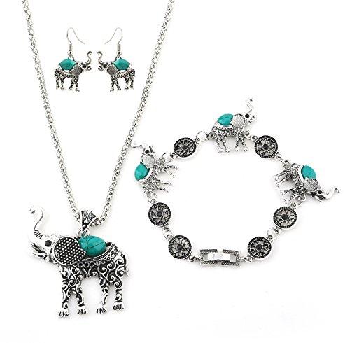 Miraculous Garden Womens Vintage Silver Ethnic Tribal Elephant Boho Pendant Necklace Drop Earrings Link Bracelet Jewelry Sets (Tribal Necklace Bracelets)