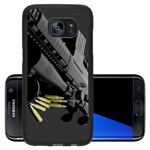 Luxlady Premium Samsung Galaxy S7 Edge Aluminum Backplate Bumper Snap Case IMAGE ID: 20454432 and ammo on a dark background