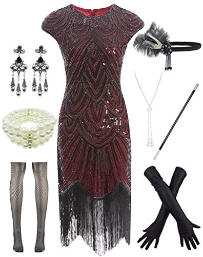 Women 1920s Vintage Flapper Fringe Beaded Gatsby Party Dress with 20s Accessories Set Hot -