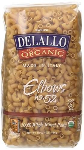 DeLallo Organic Whole Wheat Elbows #52, 16-Ounce Units (Pack of 16)