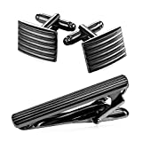 3 pcs Classic Men Black Gun Plated Tie Clip Cufflinks Mix Set