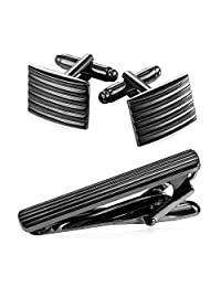 U7 Men Necktie Tie Clip and Cufflinks Set