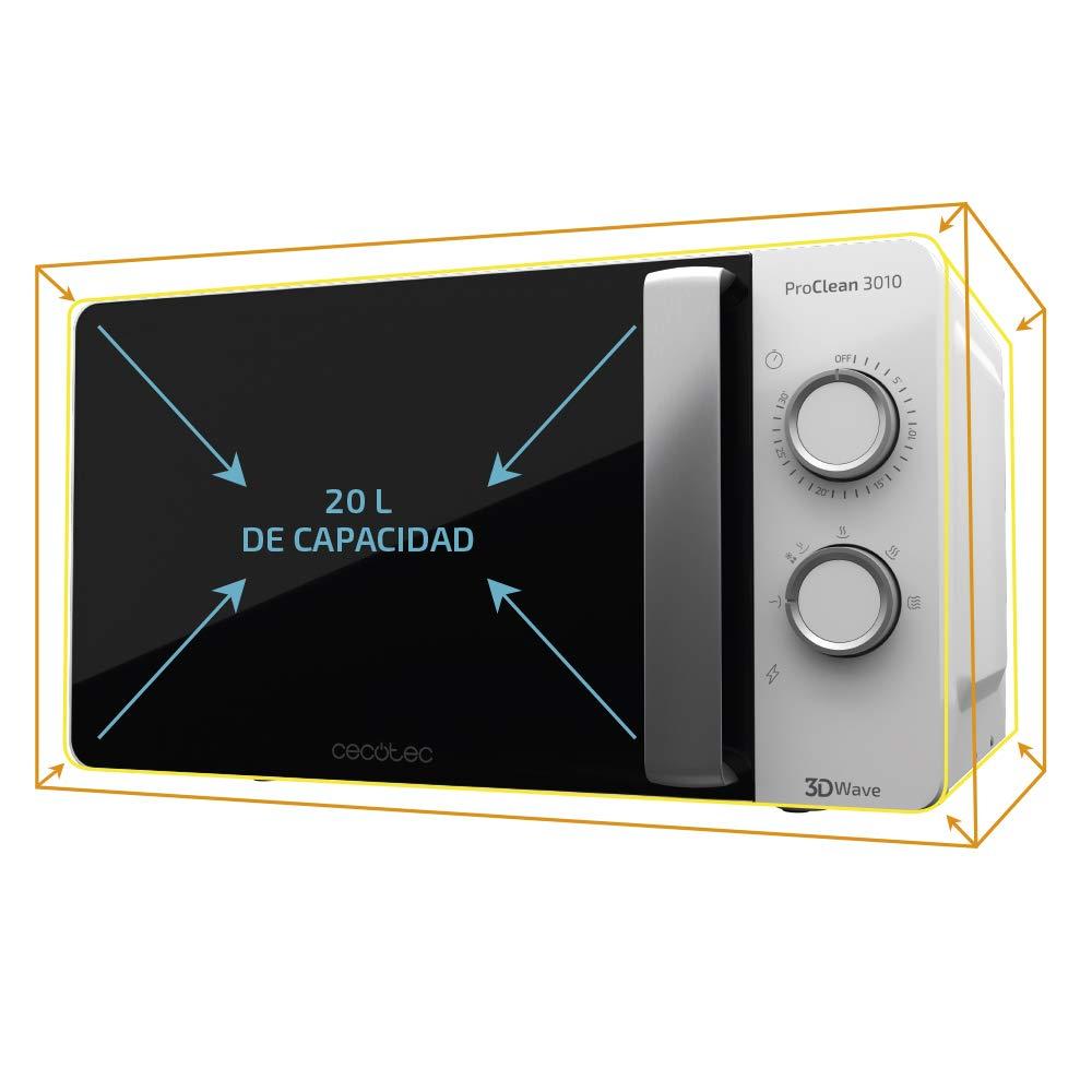 Cecotec Microondas ProClean 3040. Capacidad de 20l, Revestimiento Ready2Clean, 700 W de Potencia, 6 Niveles Funcionamiento, Temporizador 30 min, Modo ...
