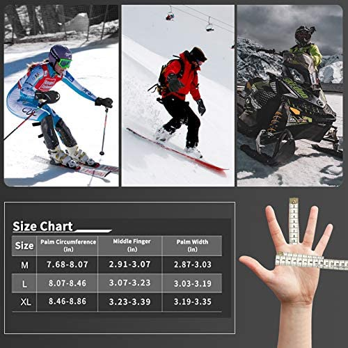 Achiou Ski Snow Gloves Waterproof Touchscreen Winter Warm for Men Women with Portable Pocket