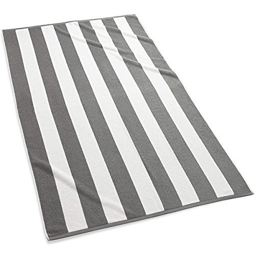 4 Pack Gray White Cabana Stripe Large Beach Towels Set of 4, 100% Turkish Cotton Towels for Bath Beach Pool Gym Hotel Spa Chair Lounge Cover, Soft Absorbent (Oversized Large 40 by 70 inches) (4 PCS) (Beach Cabana Lounge)