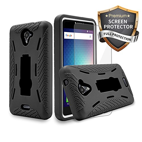 BLU R1 Plus R0071UU Case Heavy Duty Rugged Hard Cover Hybrid Dual Layer Shock-Absorption Anti-Scratch Protection Kickstand Case with Screen Protector Plastic Film (HVD Black Black + SP)