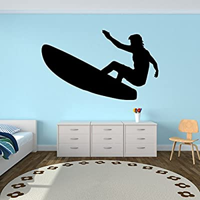 Surf Surfing Wall Decal Sticker 20 - Decal Stickers and Mural for Kids Boys Girls Room and Bedroom. Extreme Sport Wall Art for Home Decor and Decoration - Surfer Surf Board Silhouette Mural