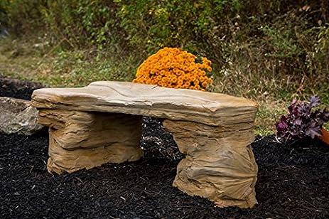 Cast Stone Petrified Rock Bench, Commercial Grade Concrete Benches, 3 Piece  Concrete Bench,