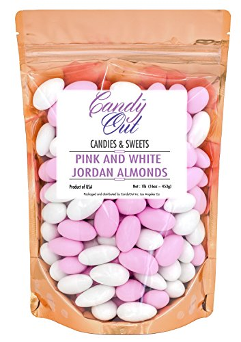 - Pink and White Jordan Almonds 1 Pound in CandyOut Sealed Stand Up Bag