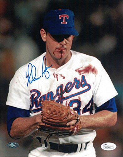 Nolan Ryan Autographed/Signed Texas Rangers 8x10 Photo Bloody JSA - Autographed Rangers 8x10 Photo