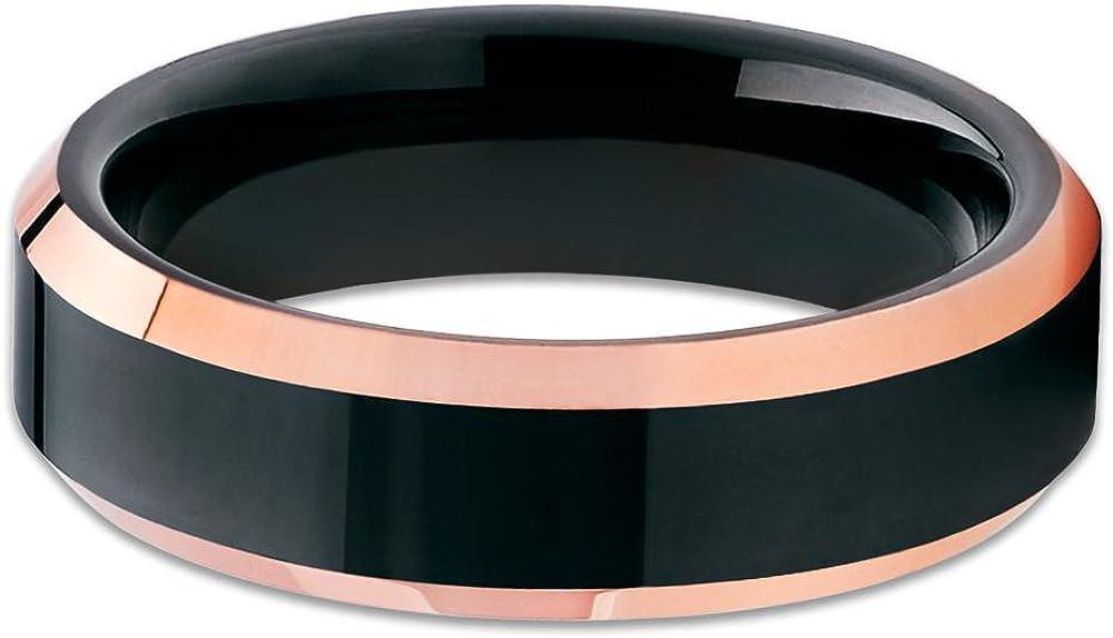 Silly Kings 6mm Rose Gold Tungsten Ring,Men /& Women,Black Tungsten Wedding Ring,Anniversary Ring,Engagement Ring