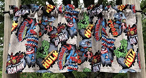 Spiderman Hulk Thor Ironman Captain America Action Heroes Handcrafted Boys Curtain Valance Sewn From Marvel Comics Avengers Super Hero Cotton -