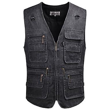Fiream Mens Outdoor Sport Casual Plus Size Multi-Pockets Denim Vest jackets (Gray, US XXL (Tag 5XL))