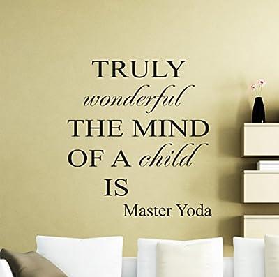 Star Wars Wall Vinyl Decal Truly Wonderful The Mind Of A Mind Jedi Master Yoda Quote Vinyl Sticker Home Teen Kids Room Nursery Art Decor Lettering Vinyl Mural (46sw)