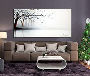 ARTLAND Hand-painted 24x48-inch 'Fog River' Gallery-wrapped Landscape Oil Painting on Canvas Wall Art Set