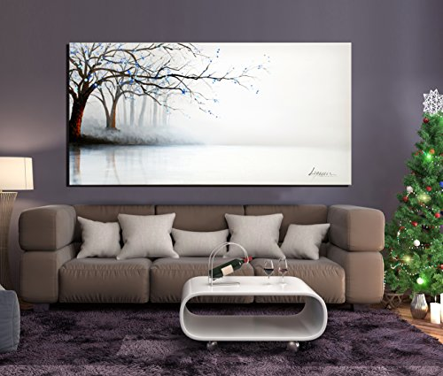 Hand Painted Landscape Oil Painting (ARTLAND Hand-painted 24x48-inch 'Fog River' Gallery-wrapped Landscape Oil Painting on Canvas Wall Art Set)
